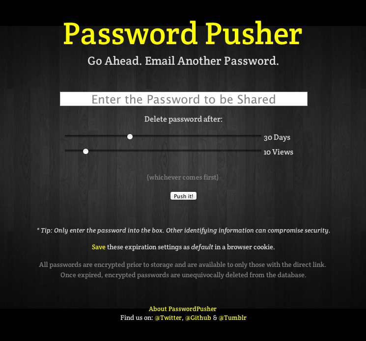 Password Pusher Front Page