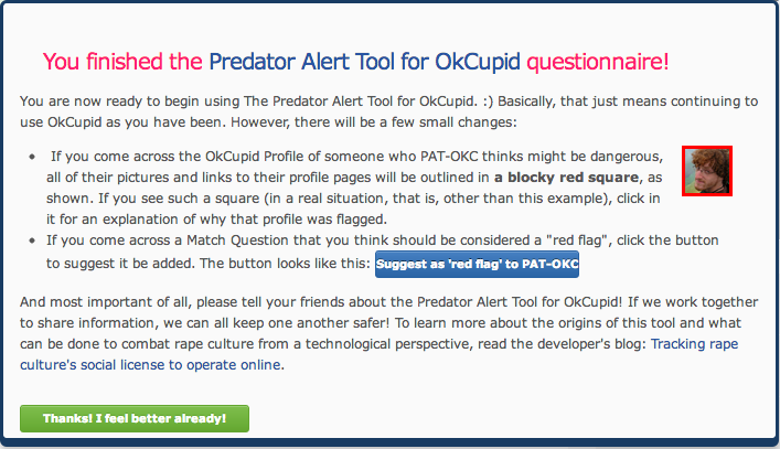 Screenshot of Predator Alert Tool for OkCupid installation guide.