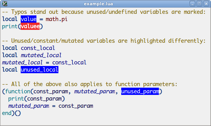Screenshot of semantic highlighting