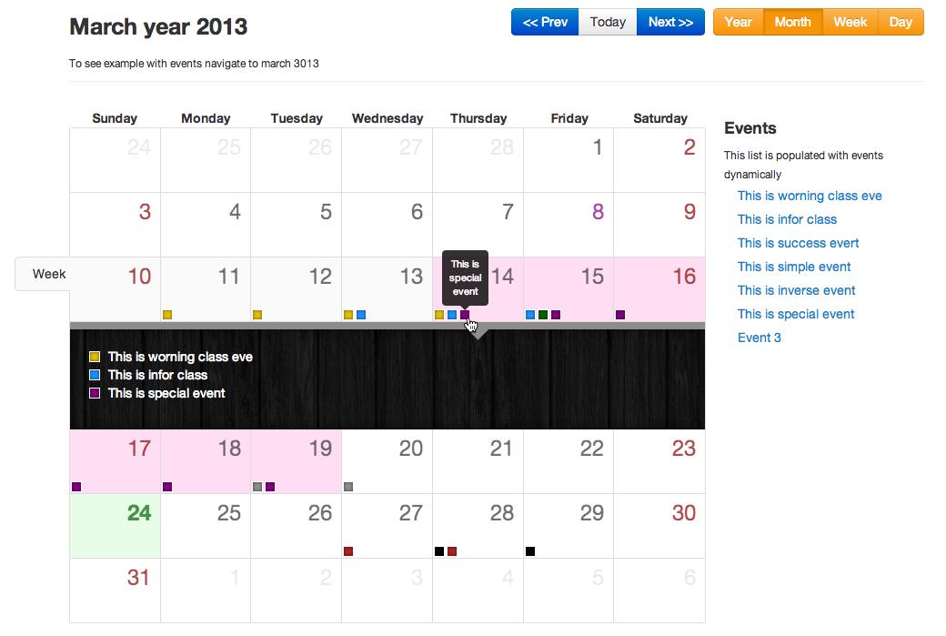 Calendar Design Using Jquery : Serhioromano bootstrap calendar · github
