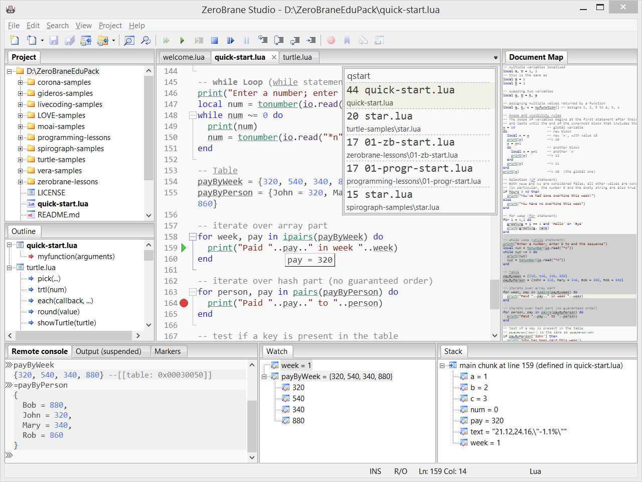 ZeroBrane Studio debugger screenshot