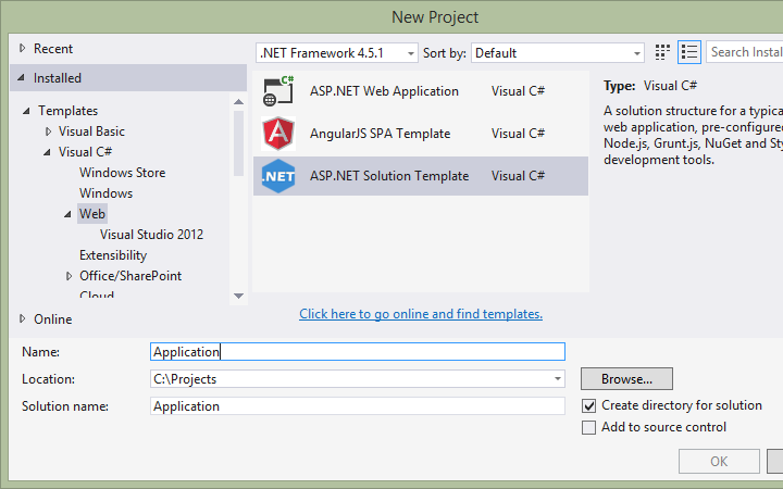 ASP.NET Solution Template