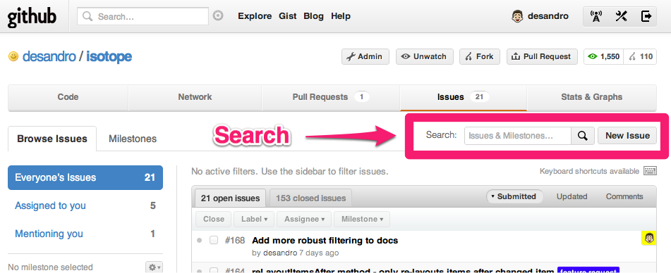 GitHub issues search