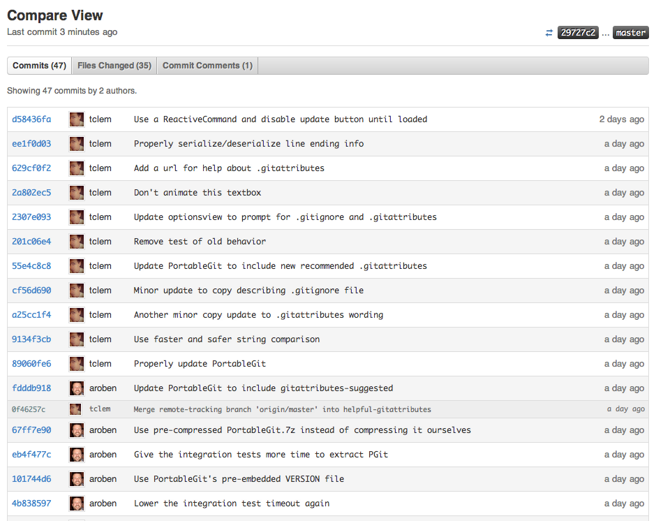 Screenshot of compare view on GitHub.com showing changes made between releases of GitHub for Windows