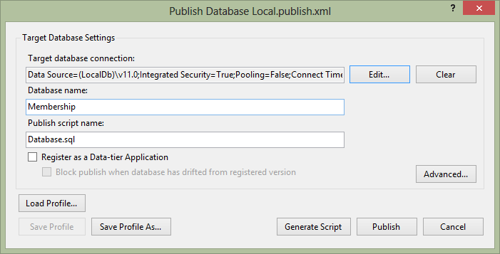 ASP.NET Membership Database Publish Dialog